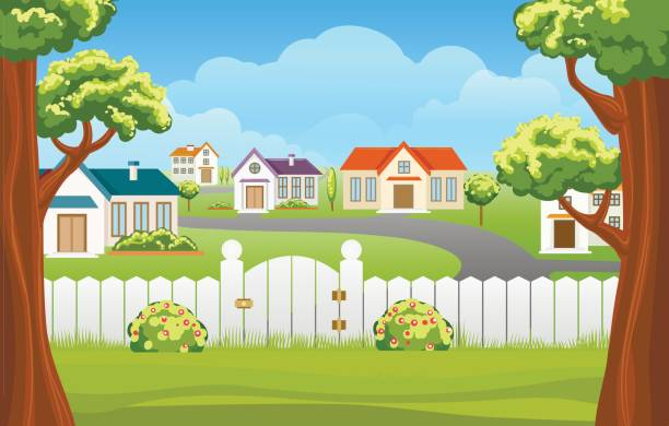 outdoor backyard background cartoon illustration - suburbs stock illustrations