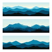Outdoor banners with mountain ridges. Horizontal nature backgrounds.