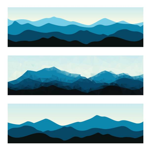 Outdoor banners with mountain ridges. Horizontal nature backgrounds. vector art illustration