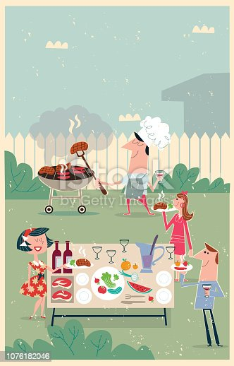 friends gather to enjoy a delicious barbecue with a delicious wine