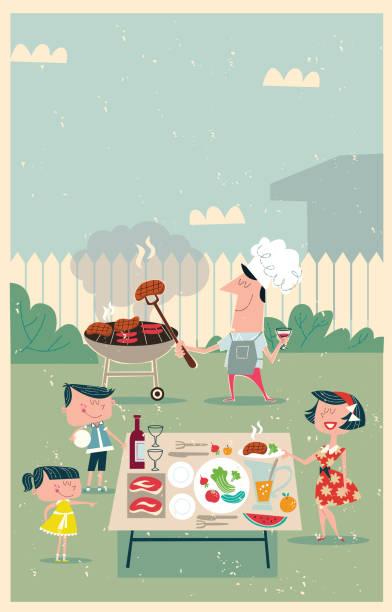 bildbanksillustrationer, clip art samt tecknat material och ikoner med utegrill möte - vin sommar fest