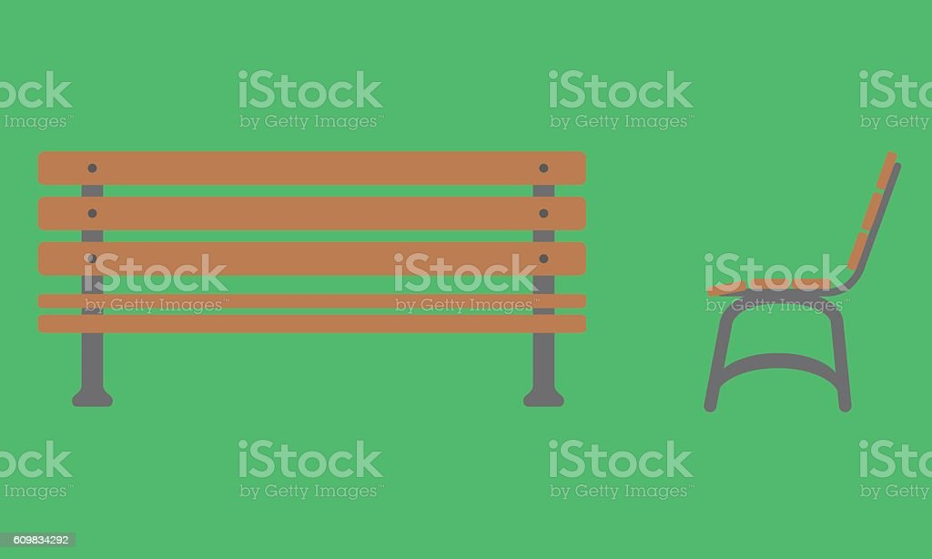 Outdoor Bench Icon With Front And Side View Royalty Free