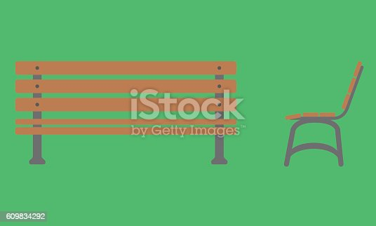 Outdoor Bench Icon With Front And Side View Stock Vector Art More Images Of Cartoon 609834292