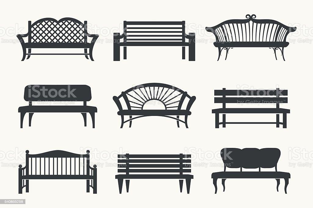 Mesas ao ar livre de ícones - ilustração de arte em vetor