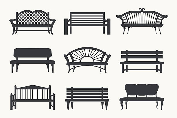 stockillustraties, clipart, cartoons en iconen met outdoor benches icons - zitbank