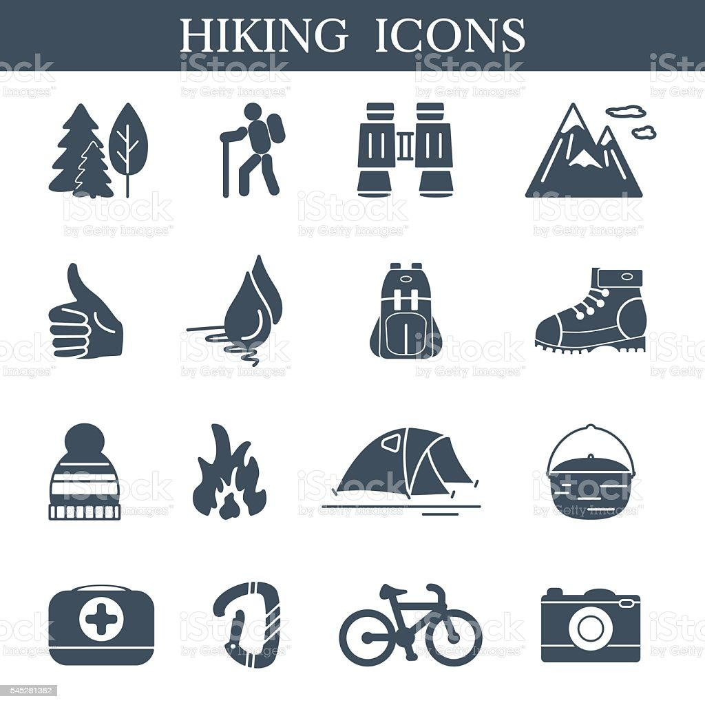outdoor black icons set hiking and camping symbols stock