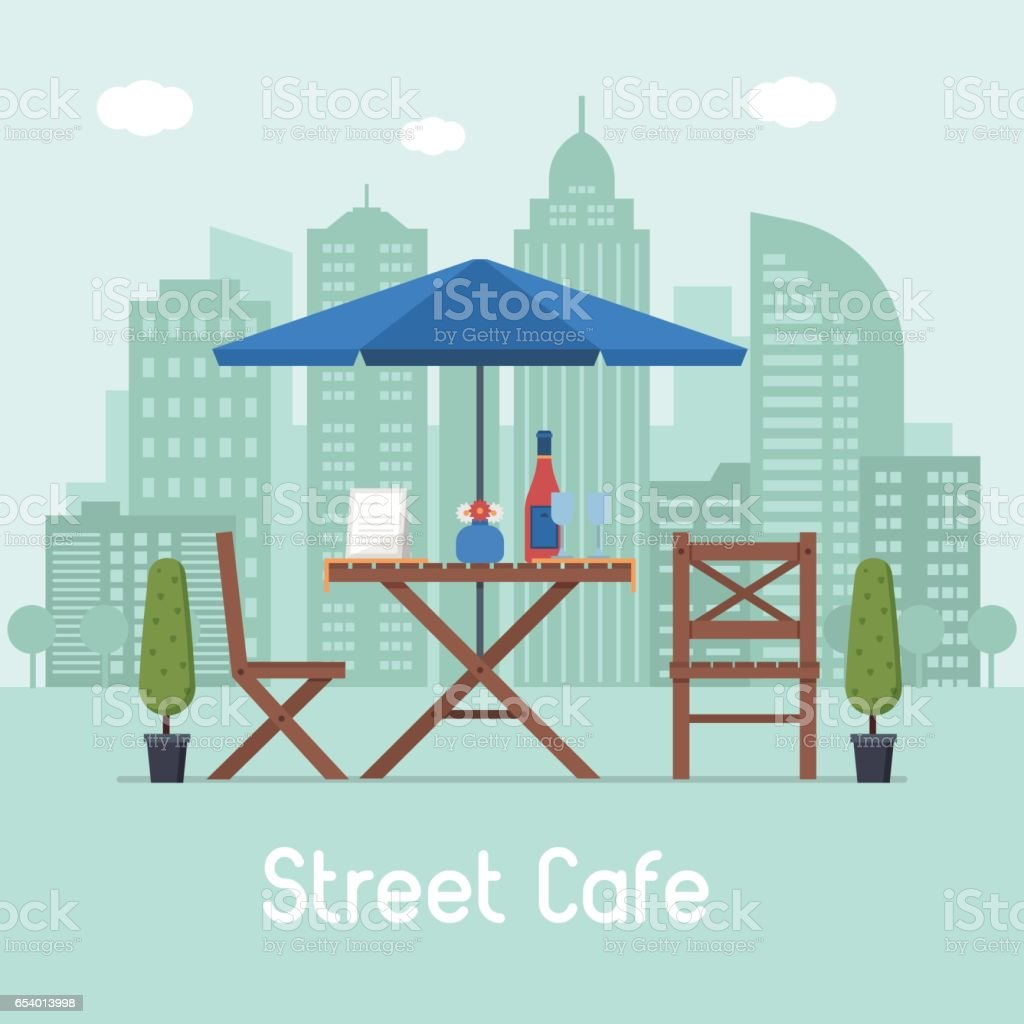 Outdoor Cafe with Table and Seats vector art illustration