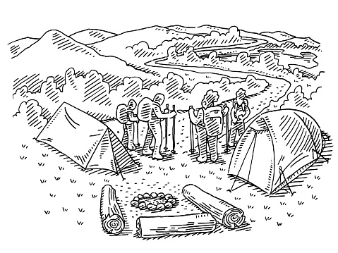 Outdoor Camping And Hiking Family Drawing