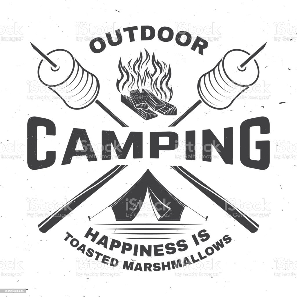 Outdoor camping. Happiness is toasted marshmallows. Vector...