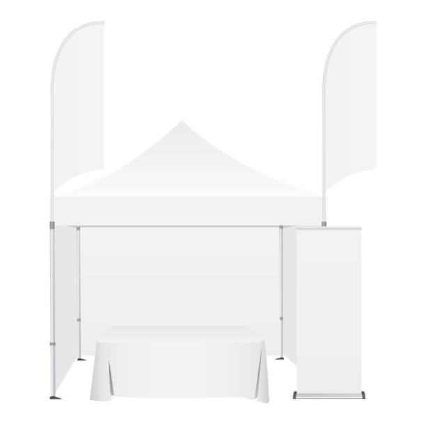 outdoor-canopy zelt mit zwei doppelseitige banner fahnen, demo-tabelle und rollup-stand - ausstellungstische stock-grafiken, -clipart, -cartoons und -symbole