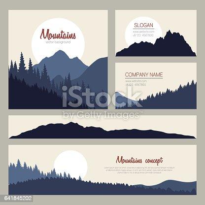 Set of stylish business card templates. Nature identity design.