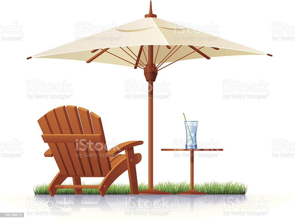 Outdoor Chair and Parasol vector art illustration