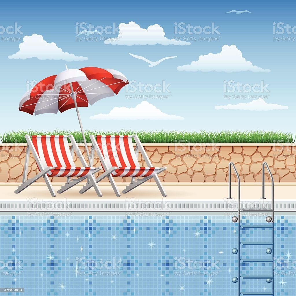 Outdoor Chairs and Swimming Pool vector art illustration