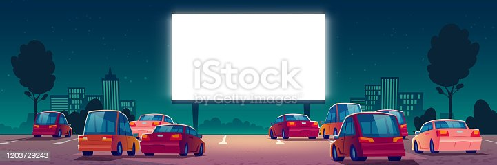 Outdoor cinema, drive-in movie theater with cars on open air parking. Vector cartoon summer night city with glowing blank screen and automobiles. Urban entertainment, film festival