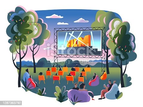istock Outdoor cinema, open air movie night. Screen with film outdoor theatre vector illustration. Happy people sitting on chairs in park. City entertainment event on summer night 1287363792