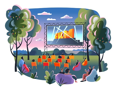 Outdoor cinema, open air movie night. Screen with film outdoor theatre vector illustration. Happy people sitting on chairs in park. City entertainment event on summer night.