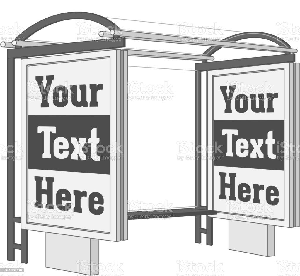 Publicité extérieure, tenez-vous debout avec bannière Shield sur la Station de Bus. - Illustration vectorielle