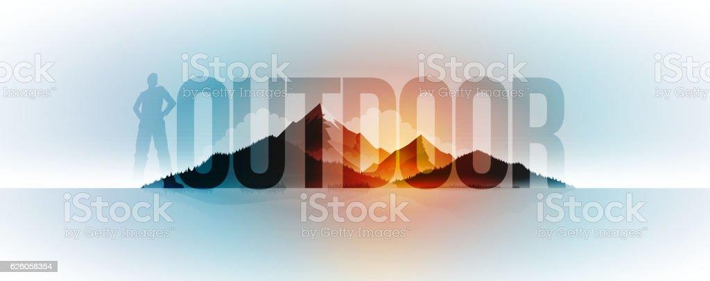 Outdoor Concept Design vector art illustration