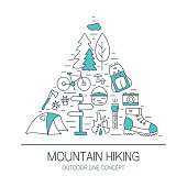 Outdoor concept. Hiking and camping line icons in triangle shape.