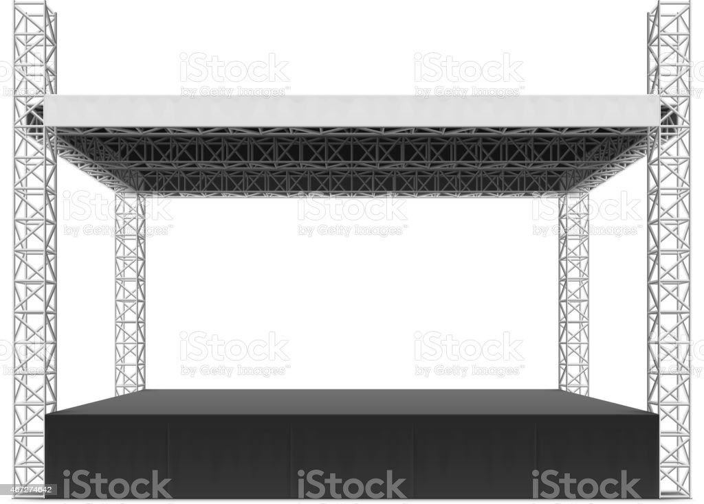 Outdoor concert stage, truss system vector art illustration