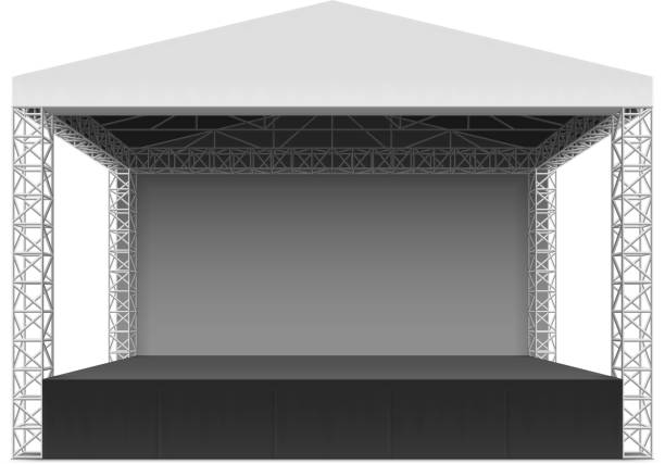 Outdoor Concert Stage Truss System Vector Art Illustration