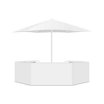 Outdoor Counter Bar and Parasol Isolated on White Background, Front View