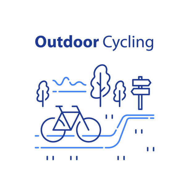 Outdoor cycling concept, riding bicycle trip, nature tourism, summer tour