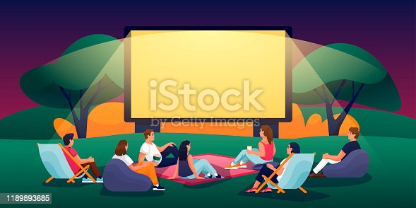istock Outdoor evening cinema in summer park. Vector flat cartoon illustration. People watching movie in open-air cinema 1189893685