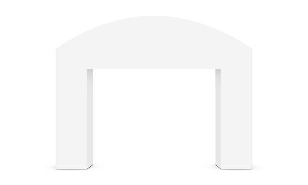 illustrations, cliparts, dessins animés et icônes de maquette d'arche extérieure d'événement d'isolement sur le fond blanc - entrée