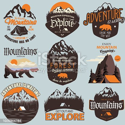 Adventure t-shirt print set. Outdoor expedition typography, poster with mountains and bear. Climbing, Trekking, Hiking, Mountaineering stamp, explore more, hipster wear emblem. vector