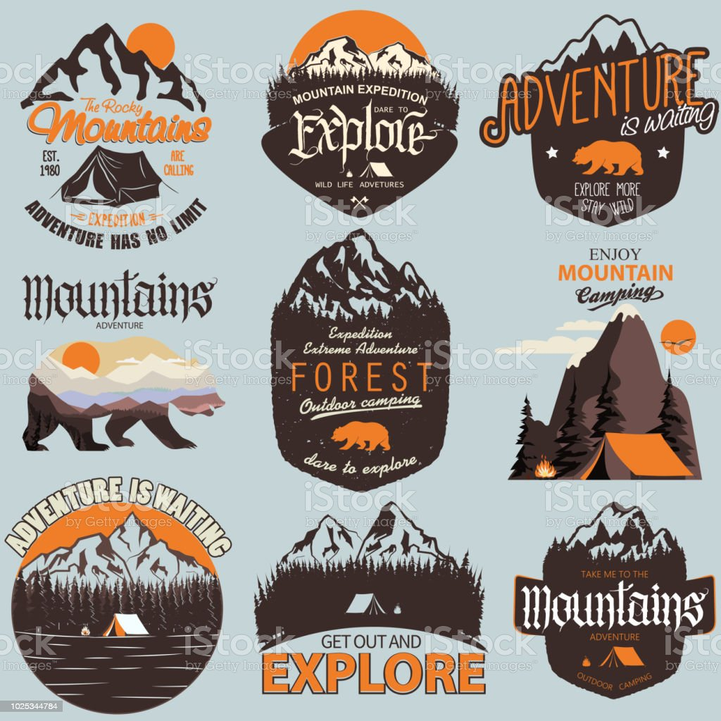 Outdoor expedition typography. Adventure t-shirt print set vector art illustration