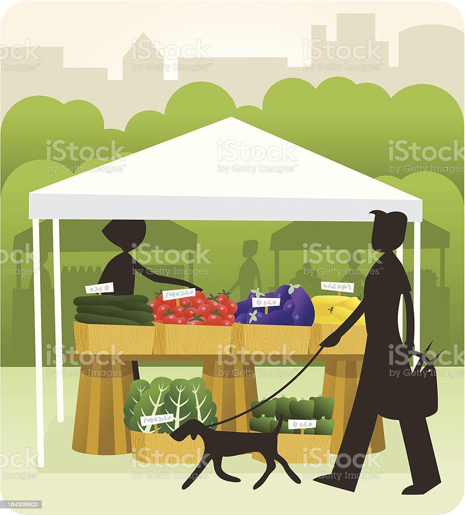 Outdoor farmer's market vector art illustration