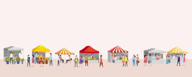 bildbanksillustrationer, clip art samt tecknat material och ikoner med utomhusfestival med foodtrucks, markiser, tält, glass, kaffe, varmkorv, blommor, bageri, promenader personer, män och kvinnor att köpa och sälja varor på park hösten. flat tecknade vektorillustration för händelse promo. moderna flygblad eller affis - traditionell festival