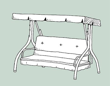 Outdoor garden swing sketch illustration