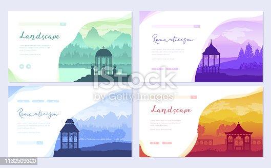 Outdoor gazebo in nature landscape. Romantic place on sunrise brochure card set. Landmark template of flyer, web banner, ui header, enter site. Layout invitation modern slider