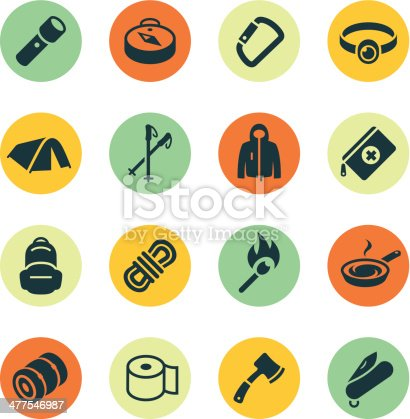 Outdoor gear icons on colored circles.  File Type - EPS 10