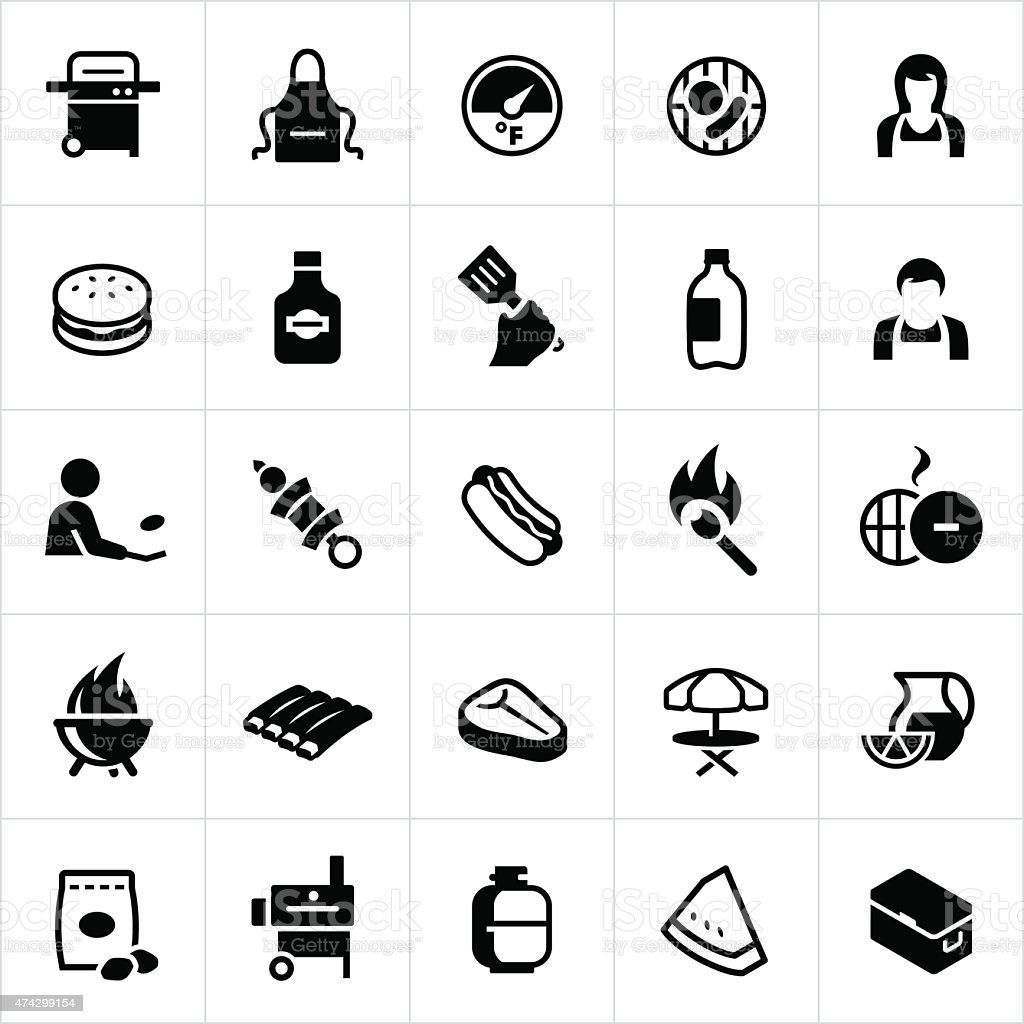 Outdoor Grilling and BBQ Icons vector art illustration