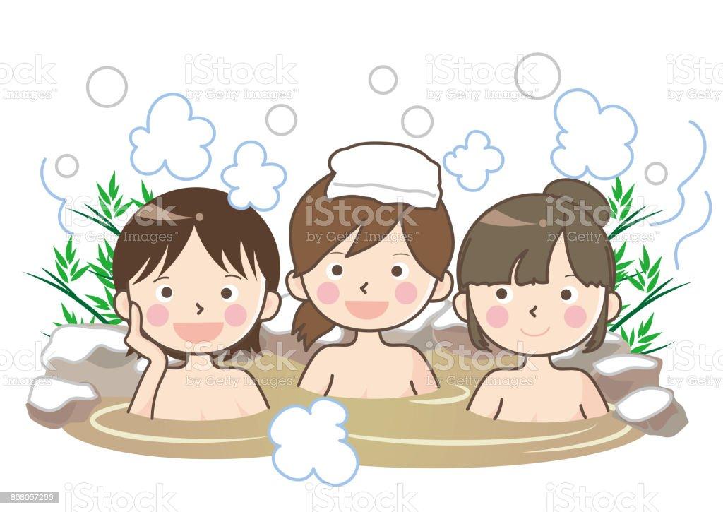 Ilustración de Termales Al Aire Libre Del Baño Con Nieve Mujer y más ...
