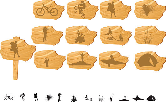 Outdoor Icon Set Wood Sign