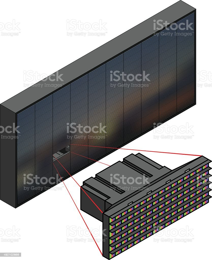 Outdoor LED display. vector art illustration