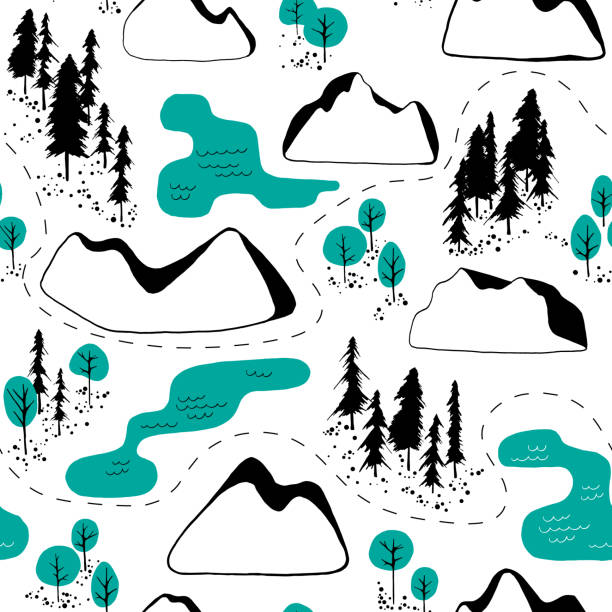 Outdoor map pattern vector art illustration