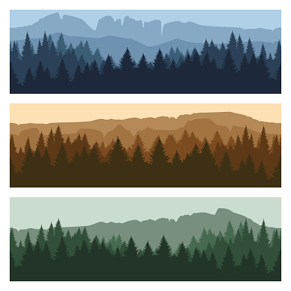 Outdoor mountain landscape banners clipart