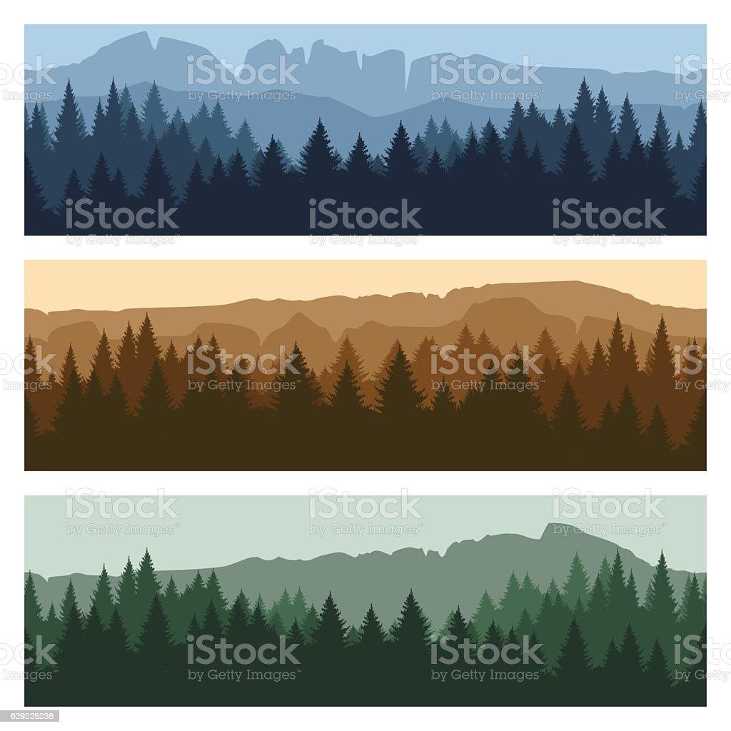 Outdoor mountain landscape banners vector art illustration