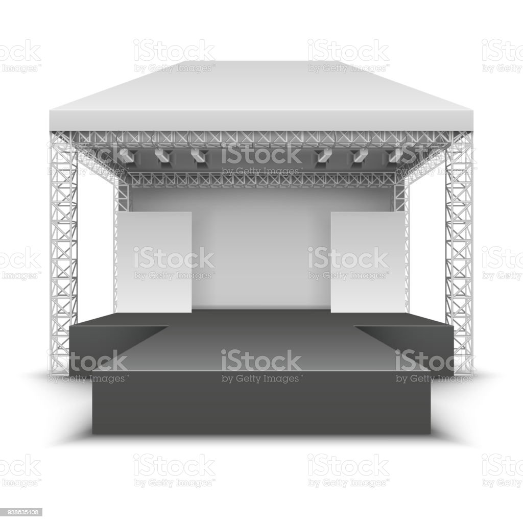 Outdoor music festival stage. Rock concert scene with spotlights isolated vector illustration
