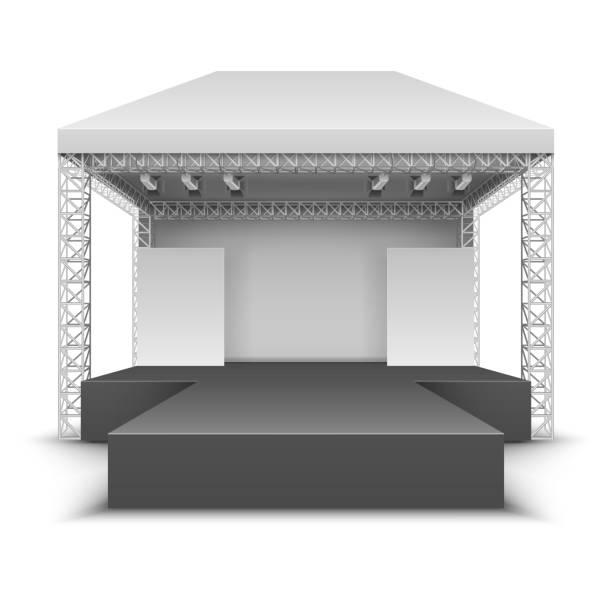 outdoor-musik-festival-bühne. rock-konzert-szene mit strahlern isolierter vektor-illustration - dachzelt stock-grafiken, -clipart, -cartoons und -symbole