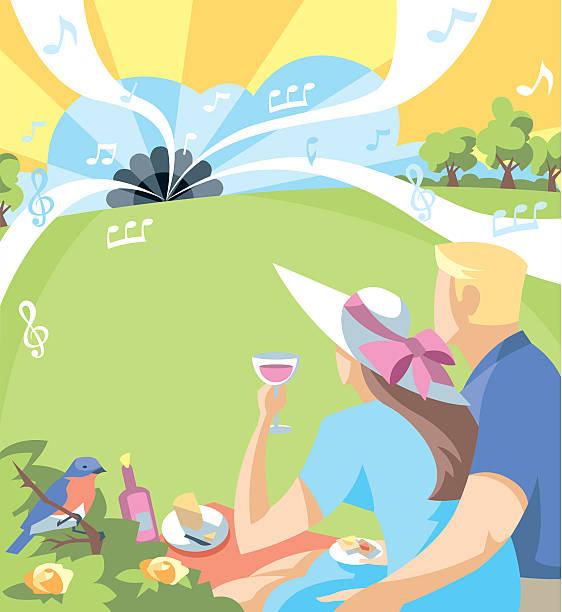 bildbanksillustrationer, clip art samt tecknat material och ikoner med outdoor music - vin sommar fest