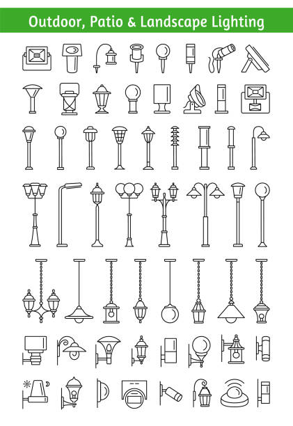 Outdoor, patio & landscape lighting. Light fixtures. Line icon set. Outdoor, patio & landscape lighting. Light fixtures. Devices for illumination of house, entryway, porch, walkway, path, garden, yard, park. Lanterns, pendants and lamps. Decorative elements. Vector line icon collection. porch stock illustrations