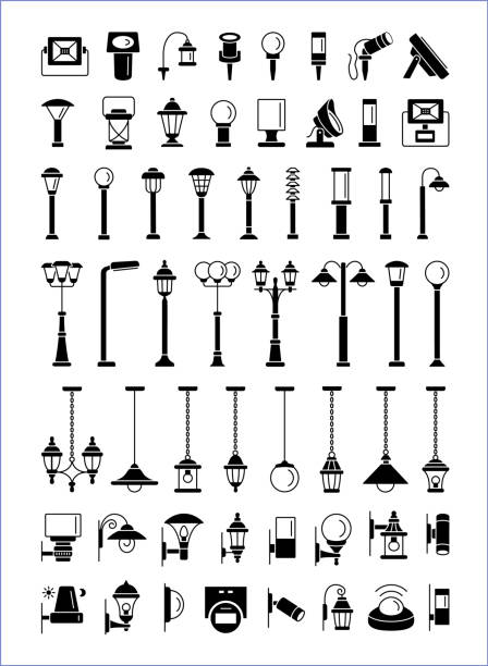 Outdoor, patio & landscape lighting. Еxterior light fixtures. Devices for illumination of porch, walkway, path, garden, yard, park. Lanterns, pendants and lamps. Vector flat icons set Outdoor, patio & landscape lighting. Еxterior light fixtures. Devices for illumination of entryway, porch, walkway, path, garden, yard, park. Lanterns, pendants and lamps. Vector flat icons. porch stock illustrations