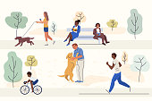 Outdoor activities flat vector illustrations set. Happy men, women and child cartoon characters. Cycling, dog walking, jogging and book reading. Smiling people rest in park, fresh air recreation