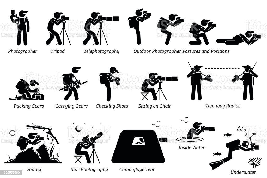 Outdoor photographer photography gears. vector art illustration